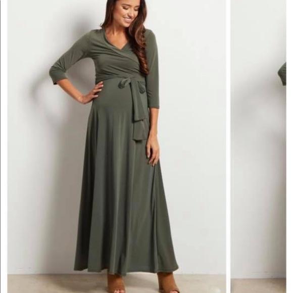 2e32c06bc88 NWT Green Draped 3 4 Sleeve Maternity Maxi Dress